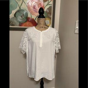 Pretty NWT Liz Claiborne Career White Lace Blouse!